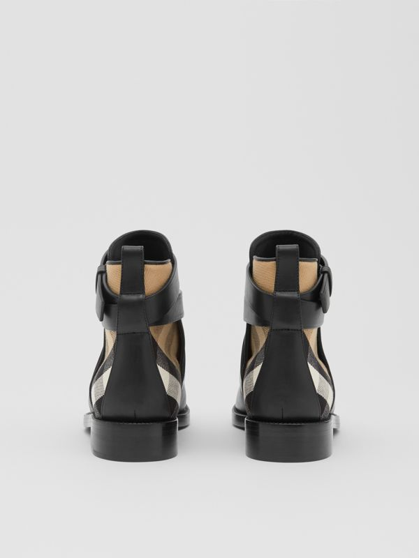 House Check and Leather Ankle Boots in Black/archive Beige - Women | Burberry United Kingdom - cell image 3