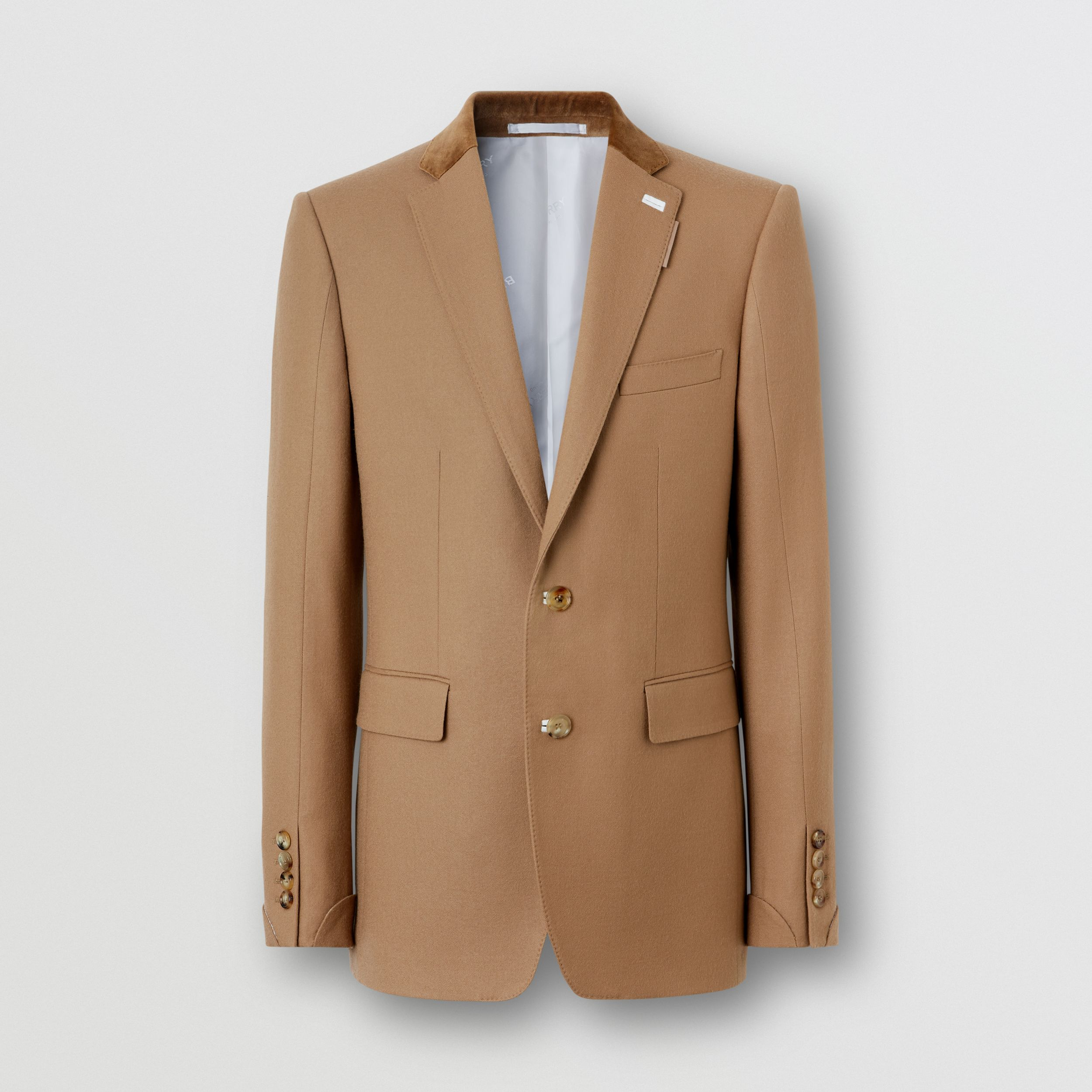 English Fit Velvet Collar Wool Flannel Tailored Jacket in Warm Camel - Men | Burberry - 4