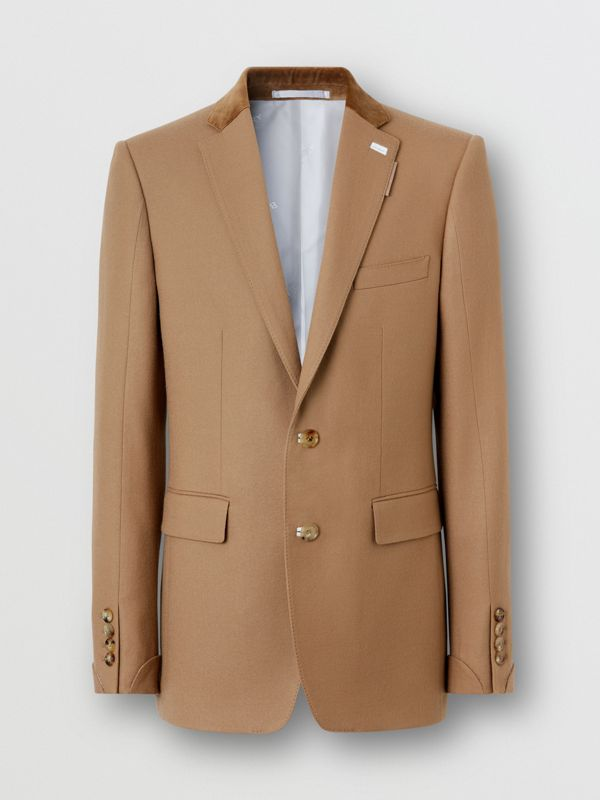 English Fit Velvet Collar Wool Flannel Tailored Jacket in Warm Camel - Men | Burberry - cell image 3
