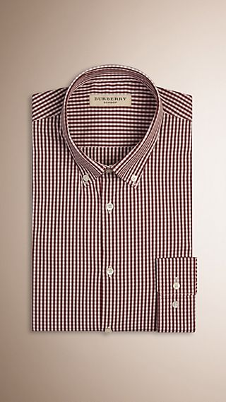 Slim Fit Button-down Gingham Stretch-cotton Shirt