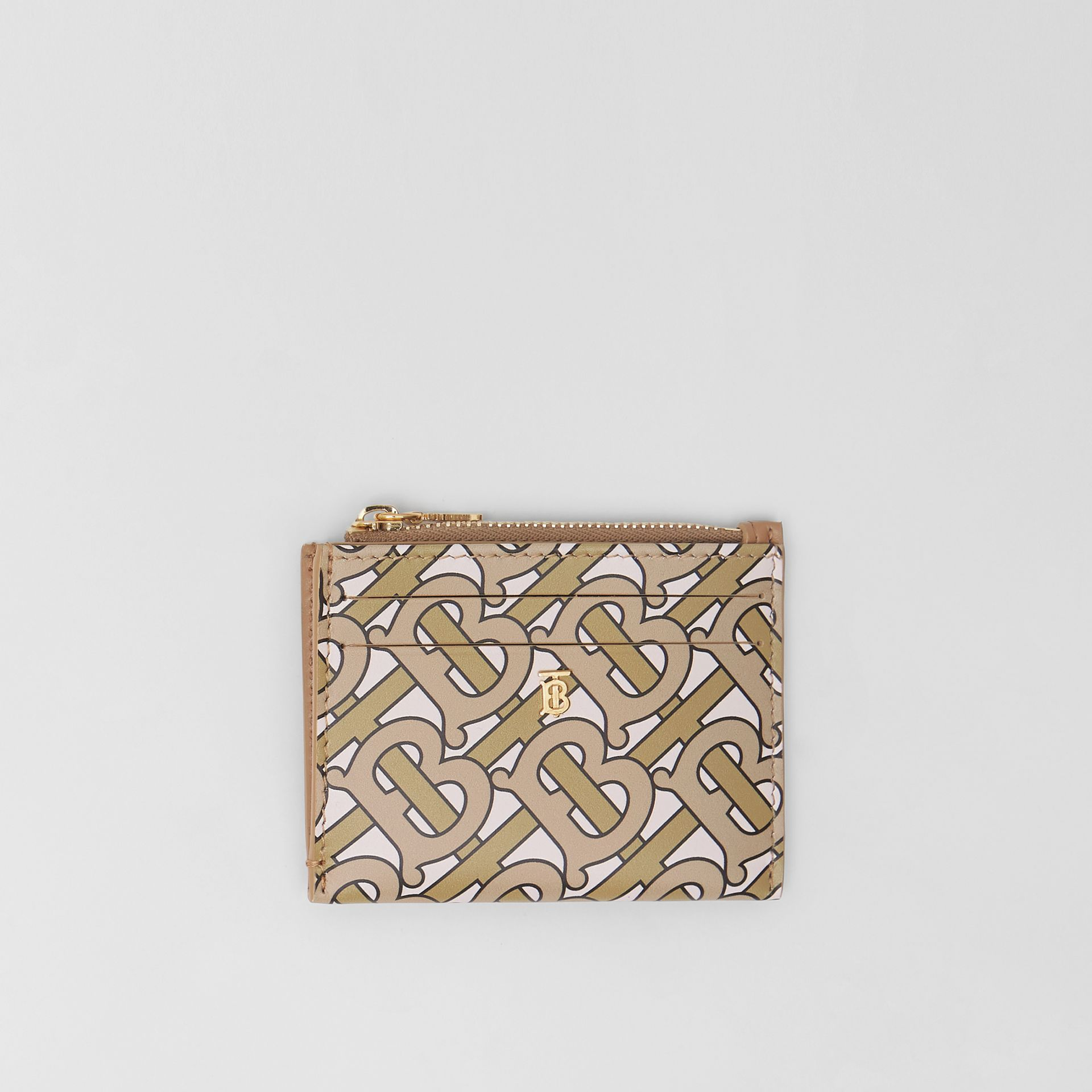 Monogram Print Leather Zip Card Case in Beige - Women | Burberry Singapore - gallery image 0