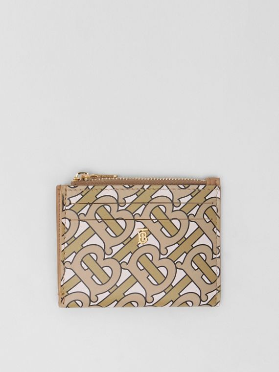 Porta-cartões de couro com zíper e estampa de monograma (Bege)