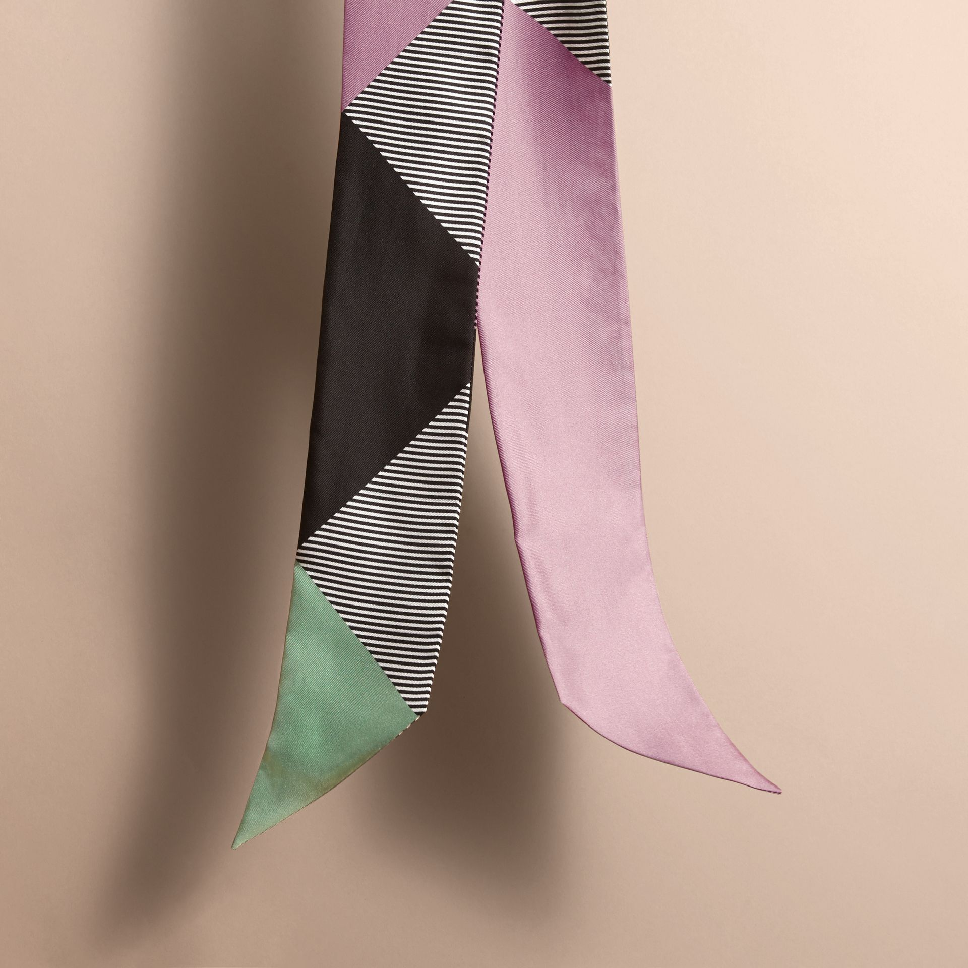 Colour Block and Striped Silk Slim Scarf in Pale Lilac - Women | Burberry - gallery image 4