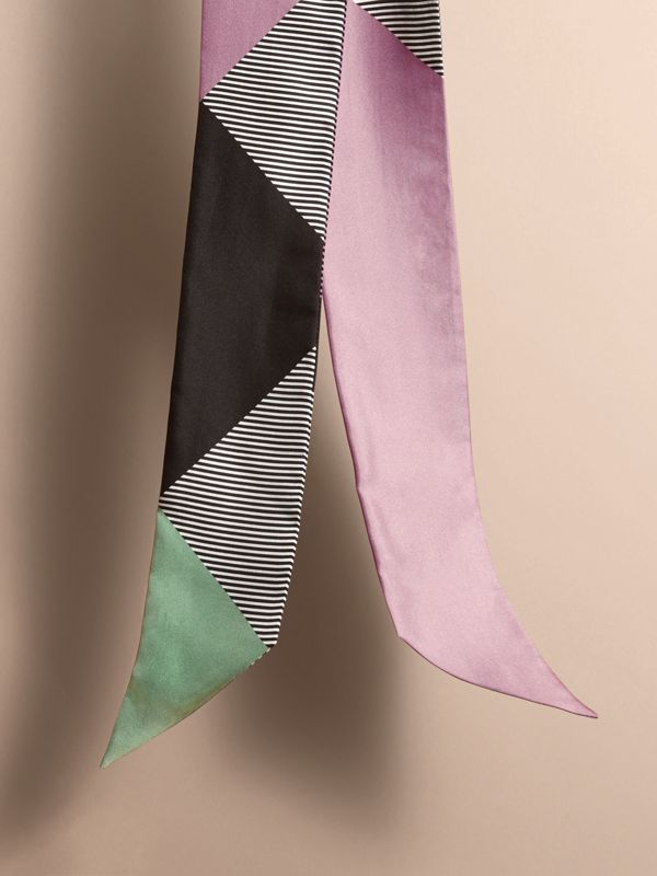 Colour Block and Striped Silk Slim Scarf in Pale Lilac - Women | Burberry - cell image 3