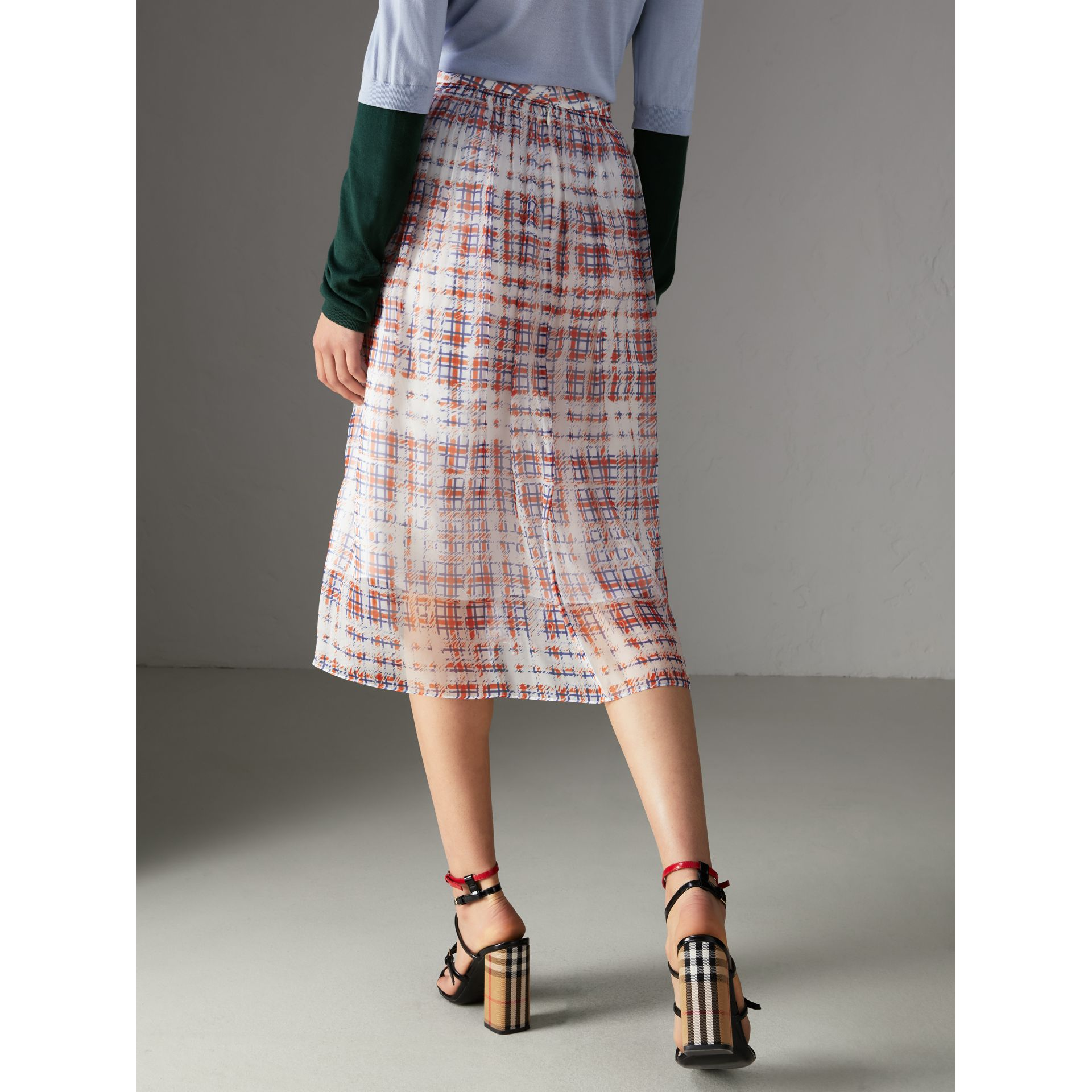 Scribble Check Print Silk Skirt in Military Red - Women | Burberry - gallery image 2