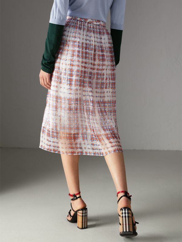 Scribble Check Print Silk Skirt in Military Red - Women | Burberry Canada - cell image 2