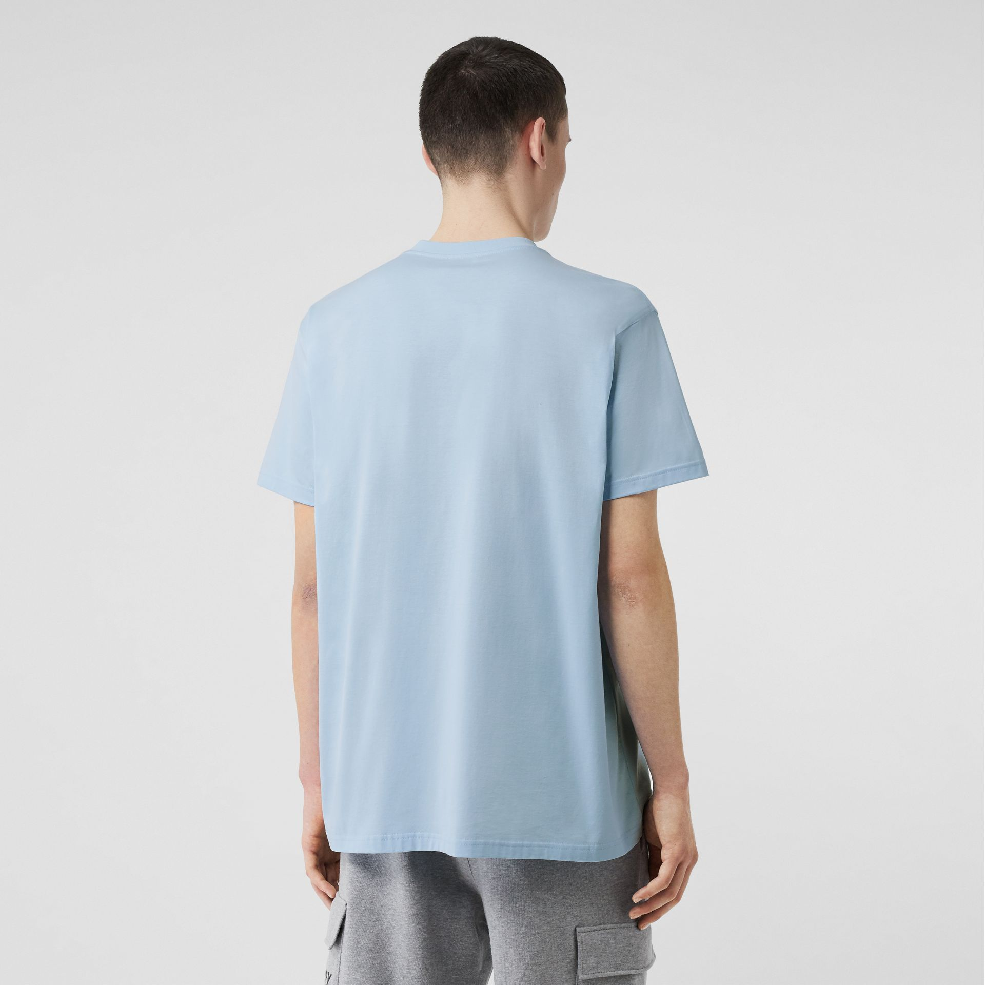 Logo Print Cotton Oversized T-shirt in Pale Blue - Men | Burberry - gallery image 2