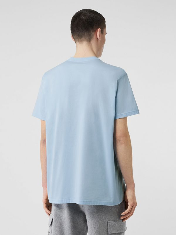 Logo Print Cotton Oversized T-shirt in Pale Blue - Men | Burberry - cell image 2