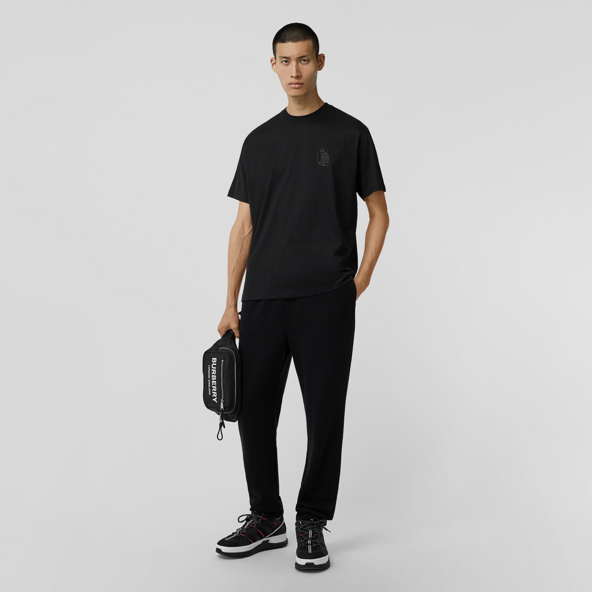 Crystal Monogram Motif Cotton Oversized T-shirt in Black - Men | Burberry - gallery image 3