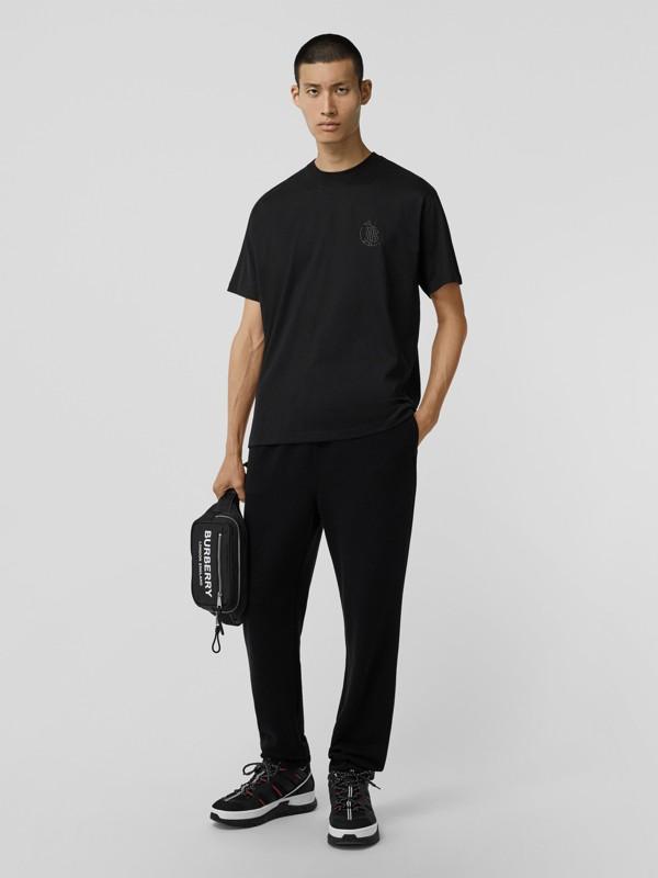 Crystal Monogram Motif Cotton Oversized T-shirt in Black - Men | Burberry - cell image 3