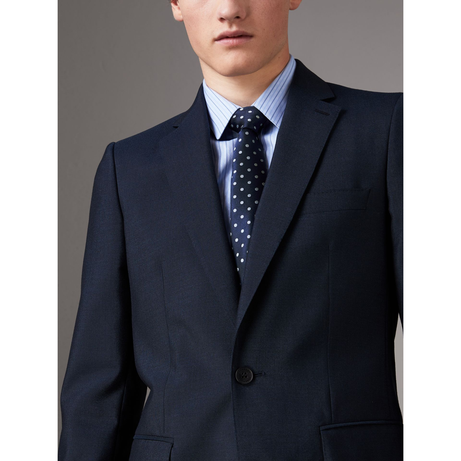 Modern Cut Polka-dot Silk Tie in Bright Navy - Men | Burberry Canada - gallery image 2