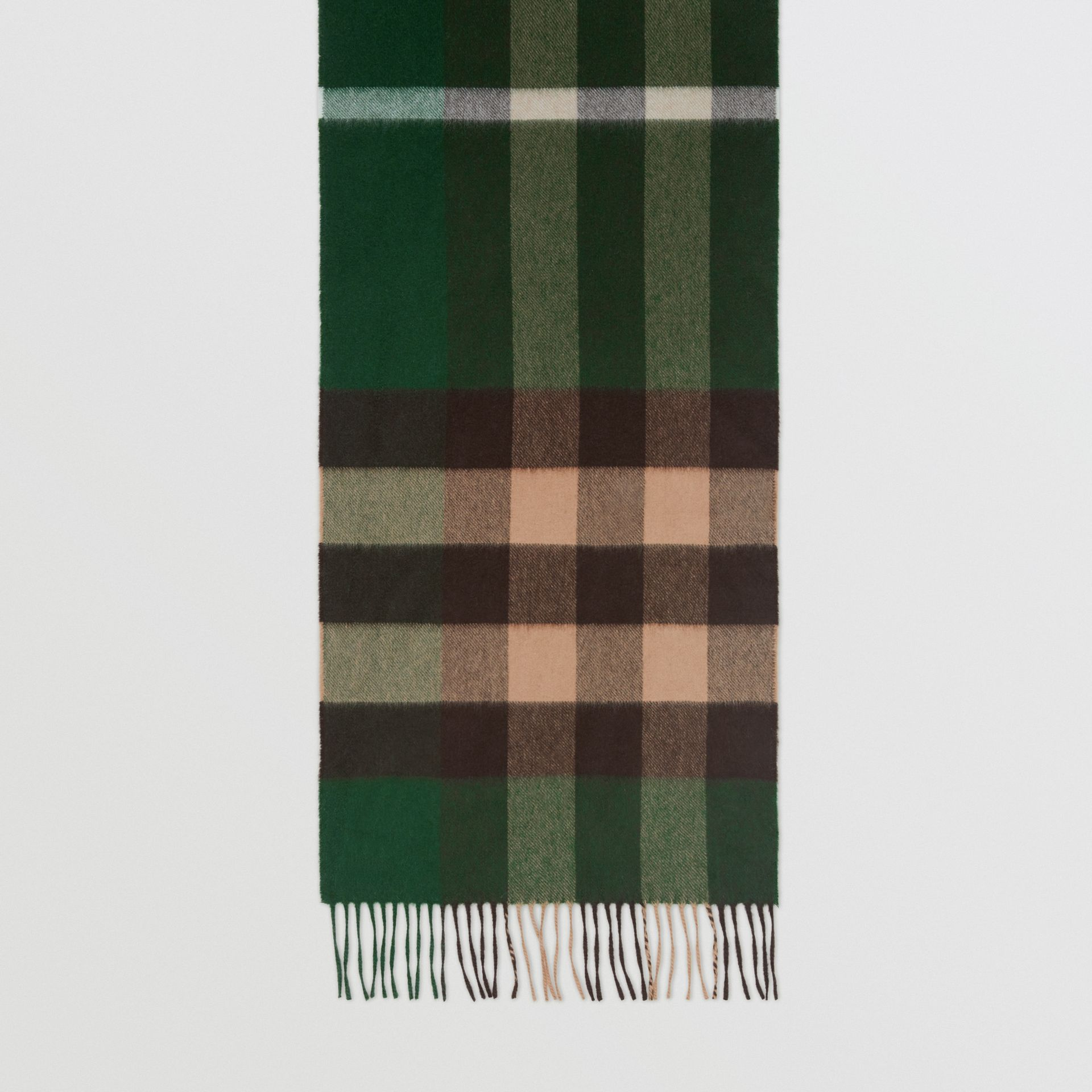 Check Cashmere Scarf in Dark Pine Green | Burberry - gallery image 3