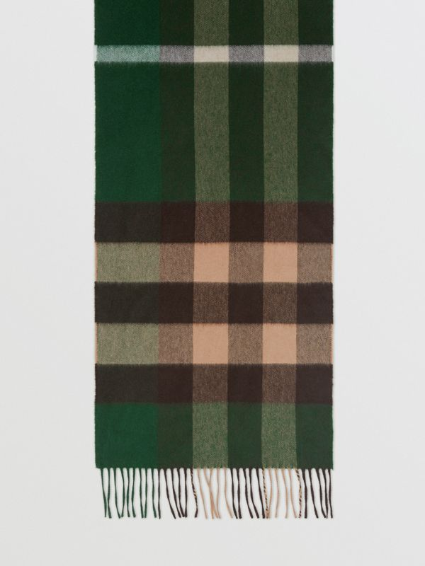 Check Cashmere Scarf in Dark Pine Green | Burberry - cell image 3
