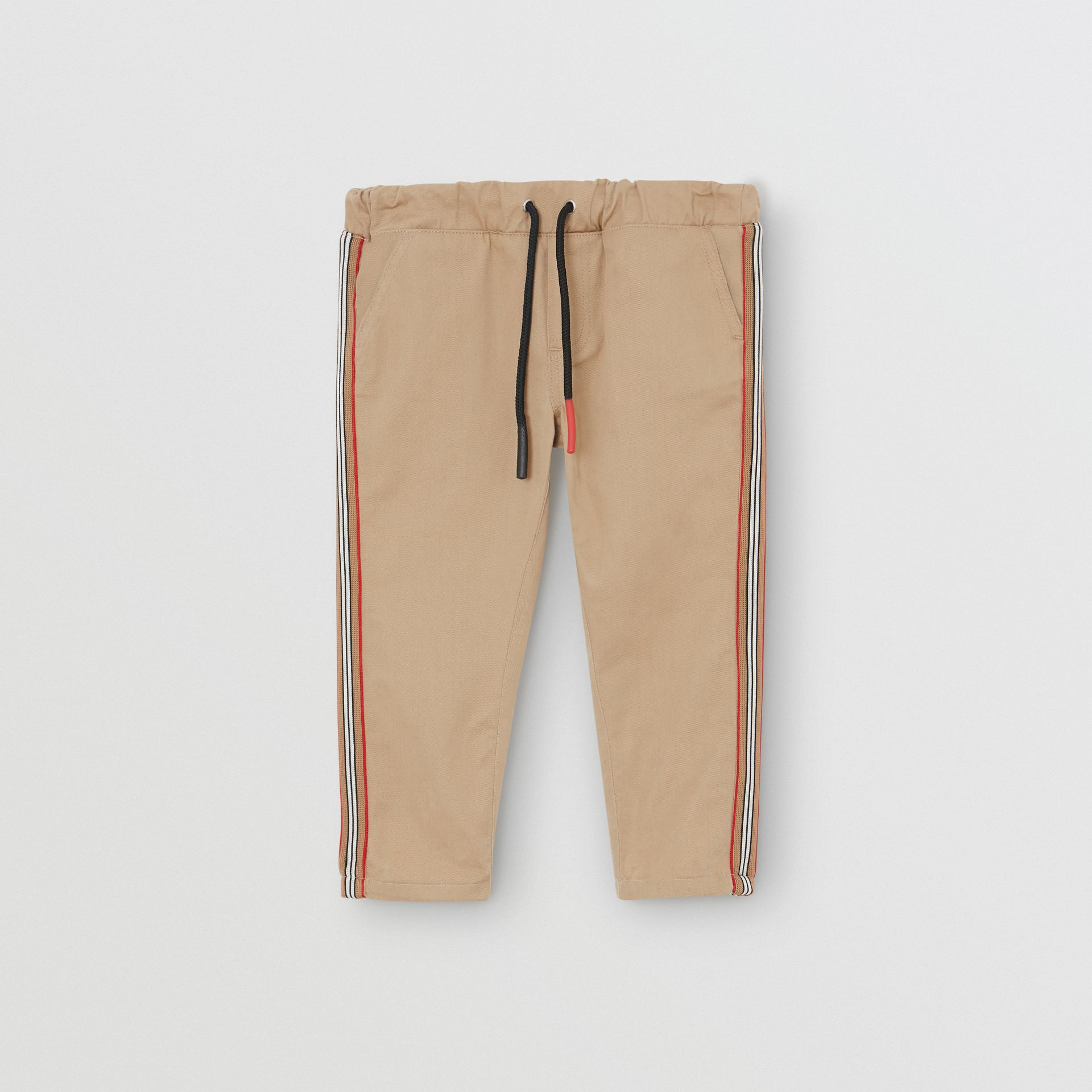 Pantalon chino en coton à rayures iconiques (Miel) - Enfant | Burberry - photo de la galerie 0