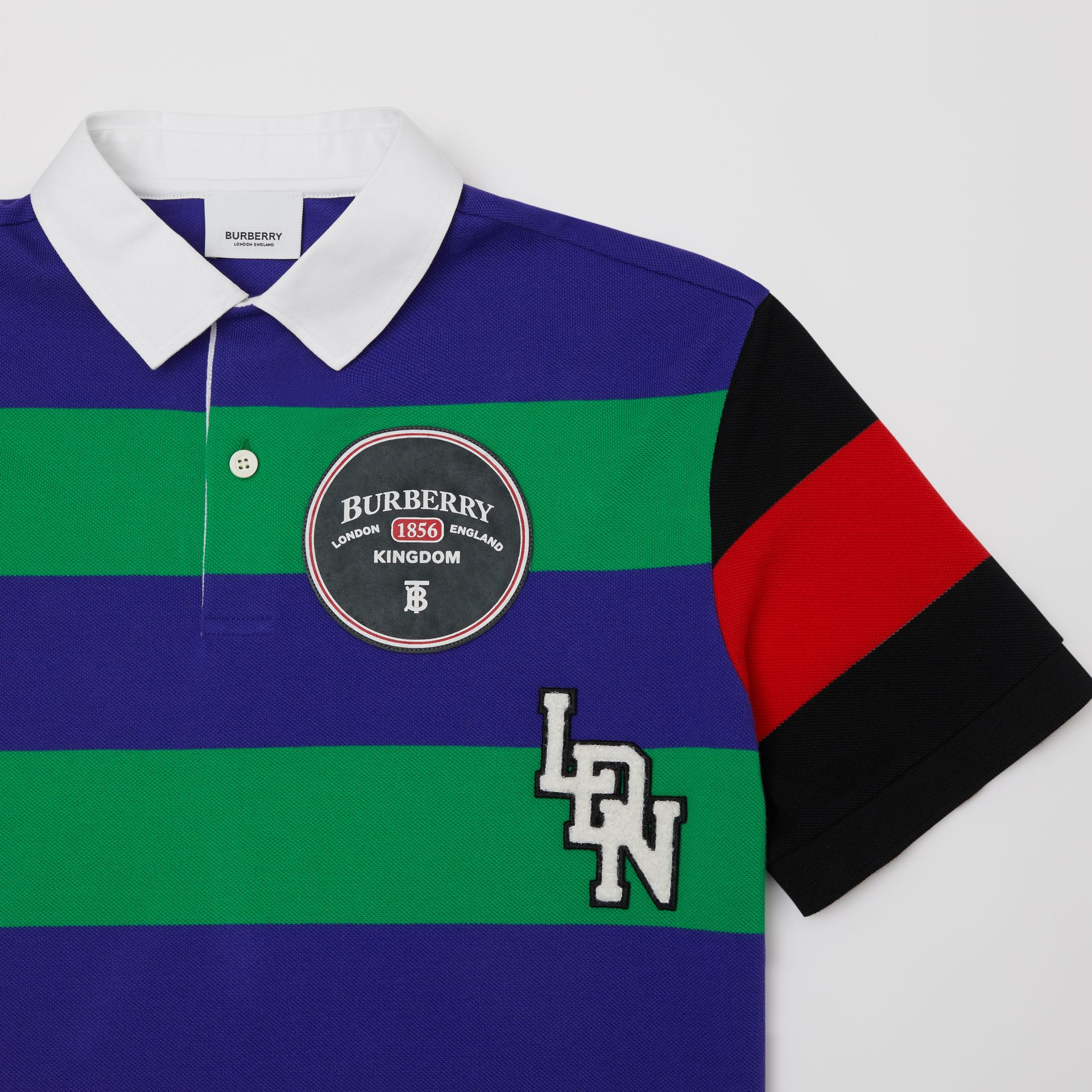 Logo Graphic Striped Cotton Piqué Polo Shirt in Multicolour | Burberry Canada - gallery image 4
