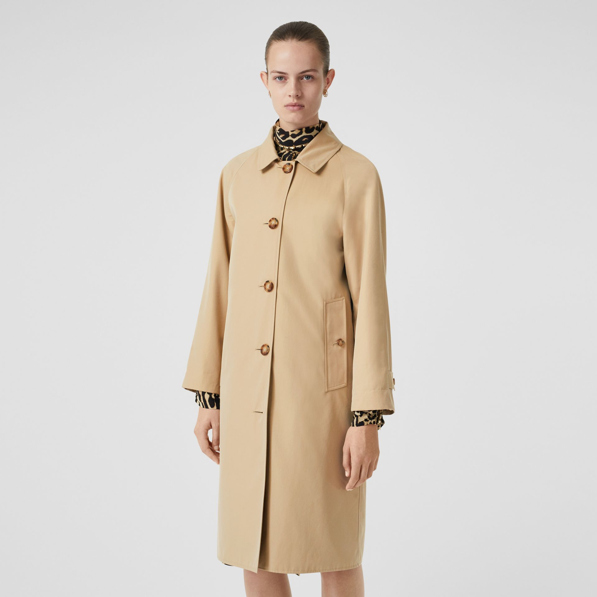 Leopard Print-lined Cotton Gabardine Car Coat in Honey - Women | Burberry Australia - gallery image 6