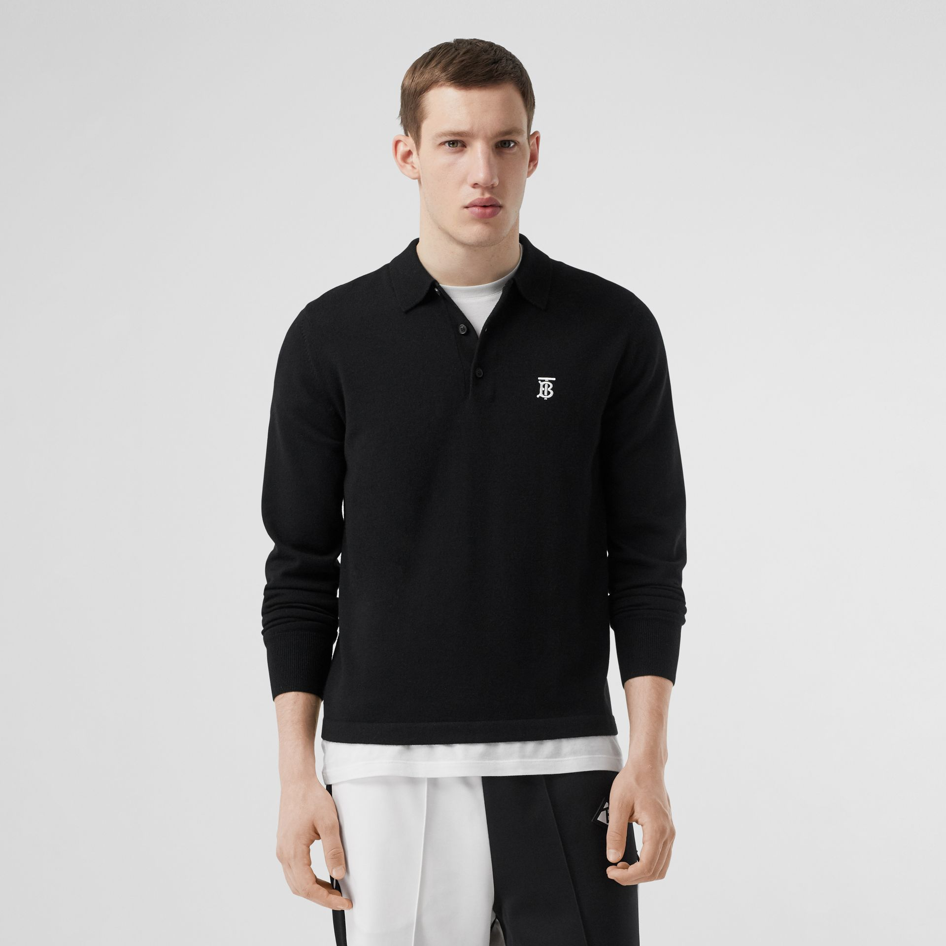 Long-sleeve Monogram Motif Merino Wool Polo Shirt in Black - Men | Burberry Singapore - gallery image 4