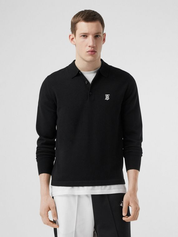 Long-sleeve Monogram Motif Merino Wool Polo Shirt in Black