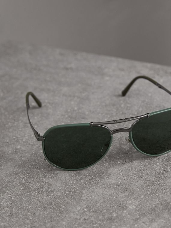 Folding Pilot Sunglasses in Dark Olive - Men | Burberry - cell image 2
