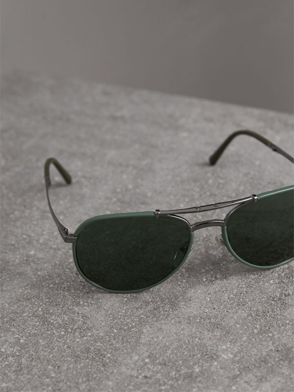 Folding Pilot Sunglasses in Dark Olive - Men | Burberry United Kingdom - cell image 3