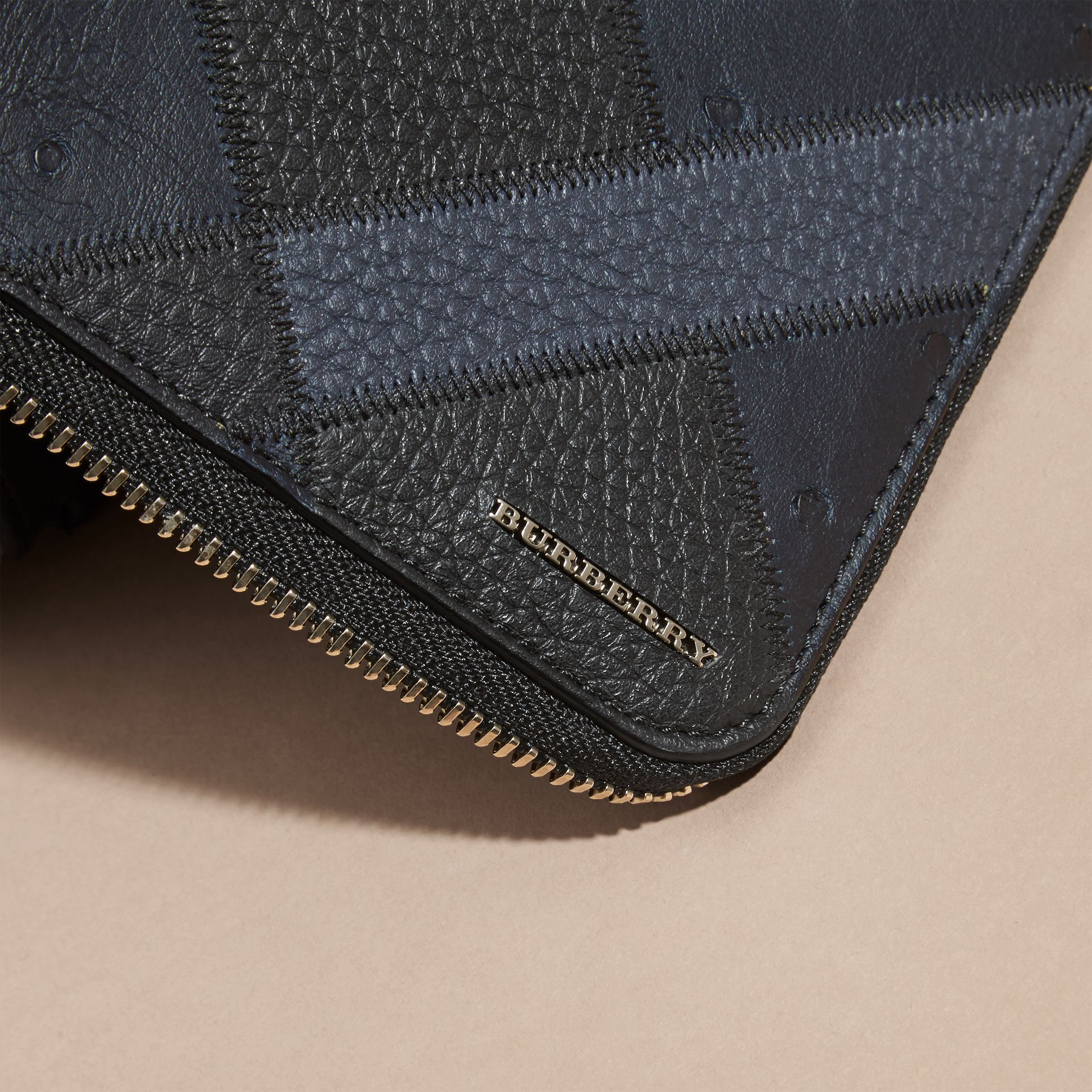 Dark navy Grainy and Ostrich Leather Ziparound Wallet - gallery image 2
