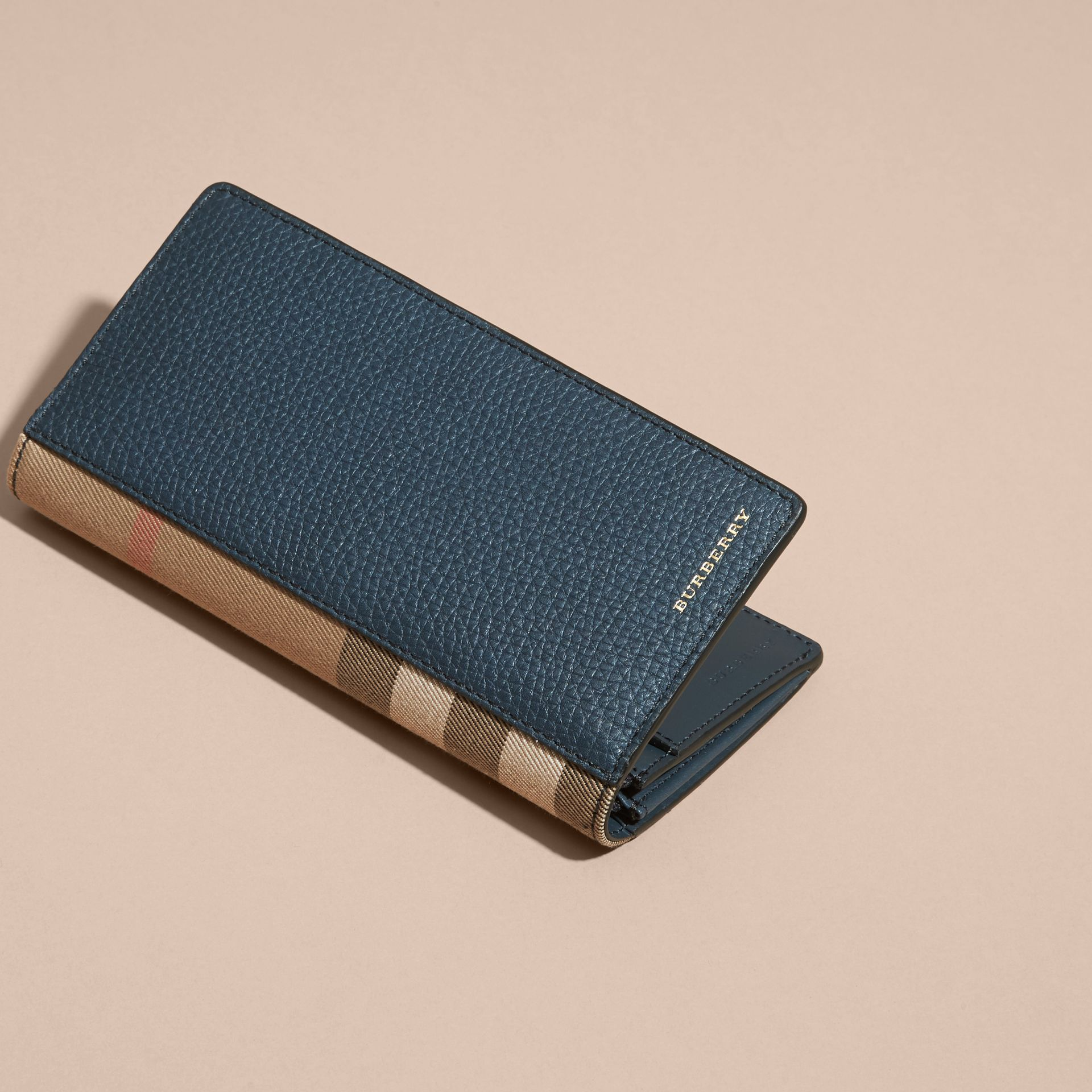 House Check and Grainy Leather Continental Wallet Storm Blue - gallery image 6