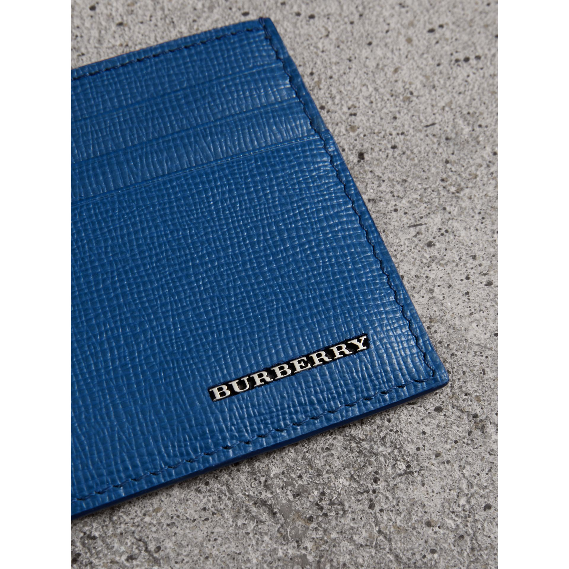 London Leather Card Case in Deep Blue | Burberry - gallery image 1