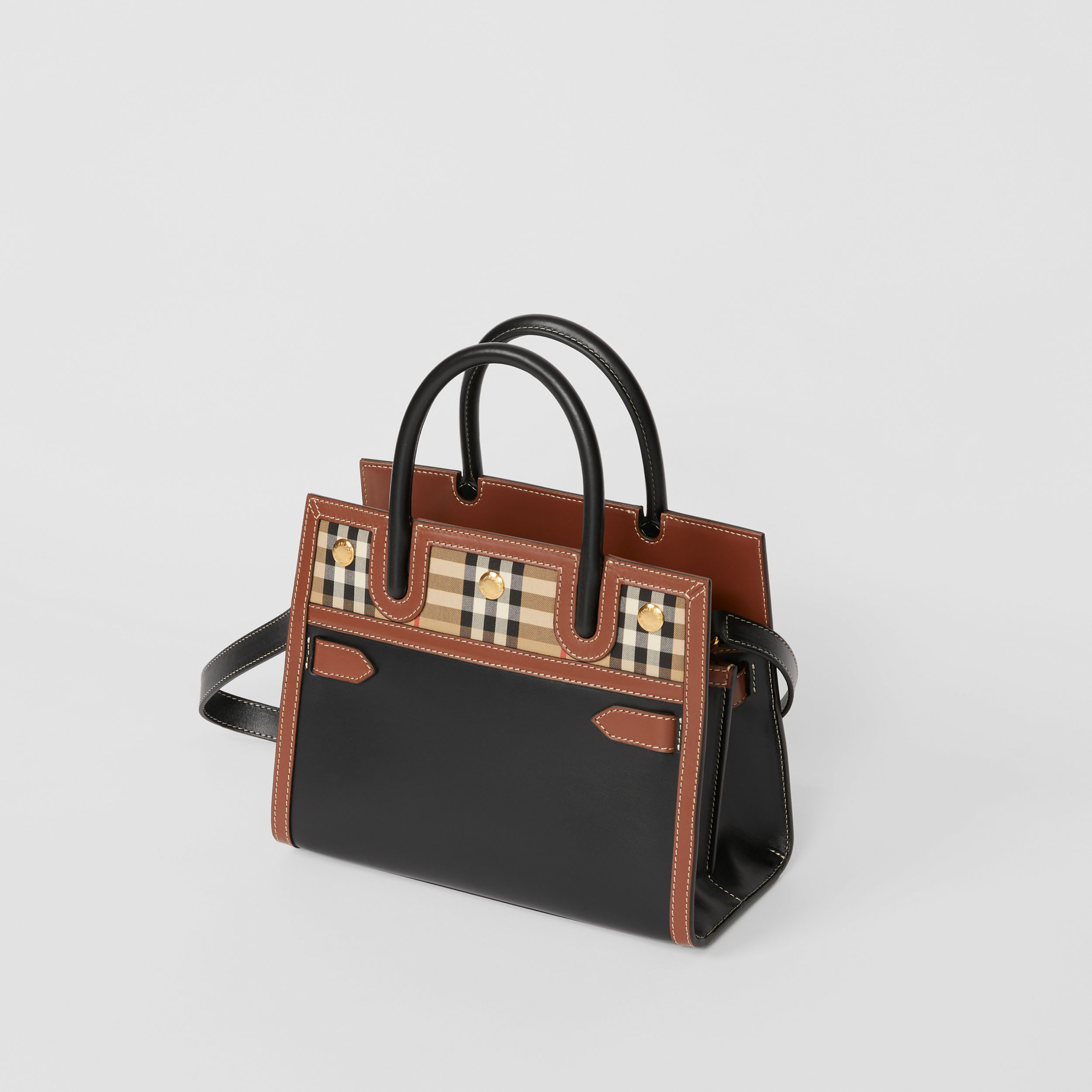 Mini Leather and Vintage Check Two-handle Title Bag in Black - Women | Burberry United Kingdom - 4
