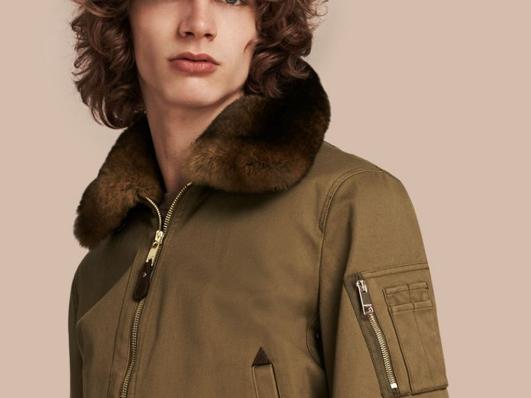 Olive green Cotton Bomber Jacket with Detachable Fur-lined Warmer - cell image 1