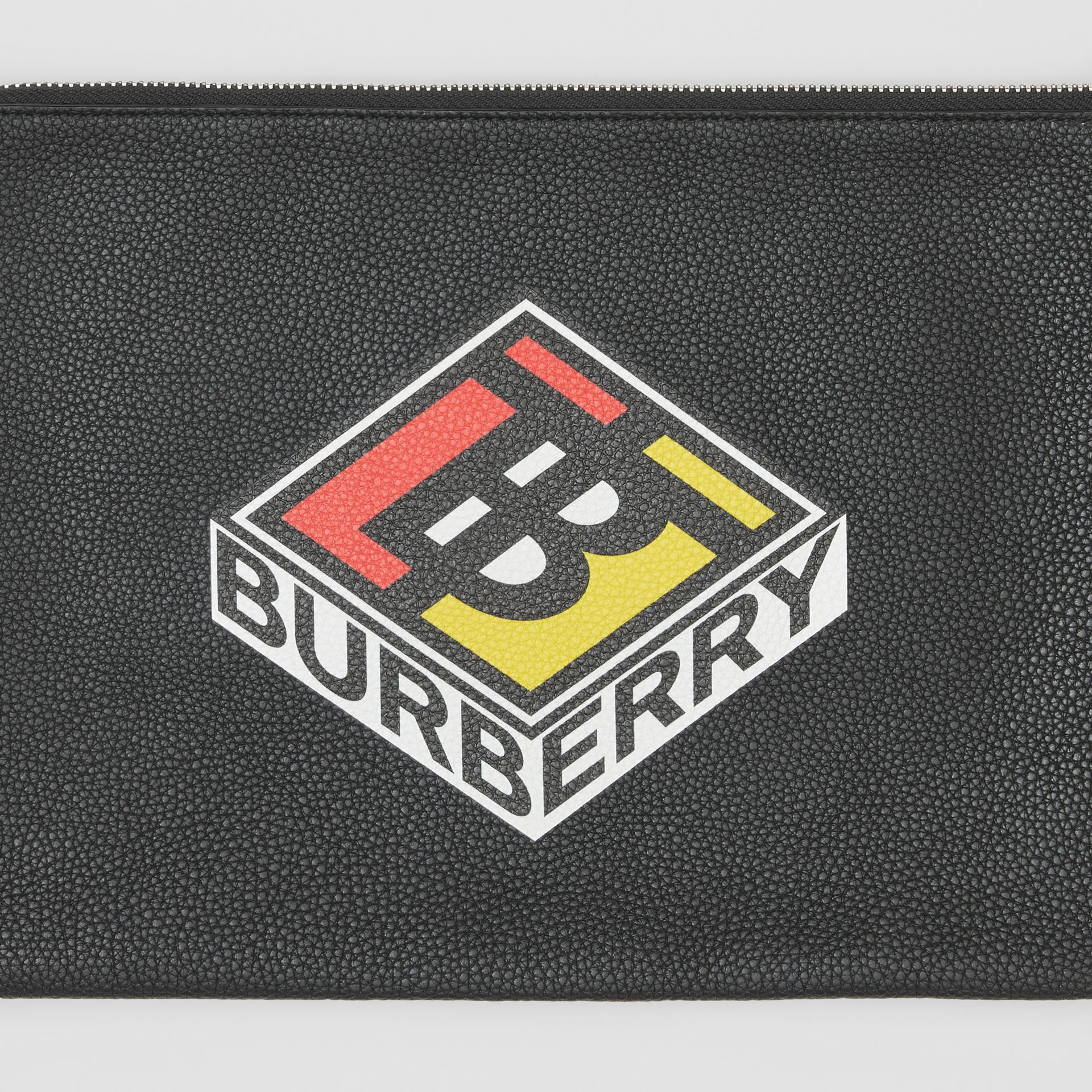 Logo Graphic Grainy Leather Zip Pouch in Black - Men   Burberry United Kingdom - gallery image 1