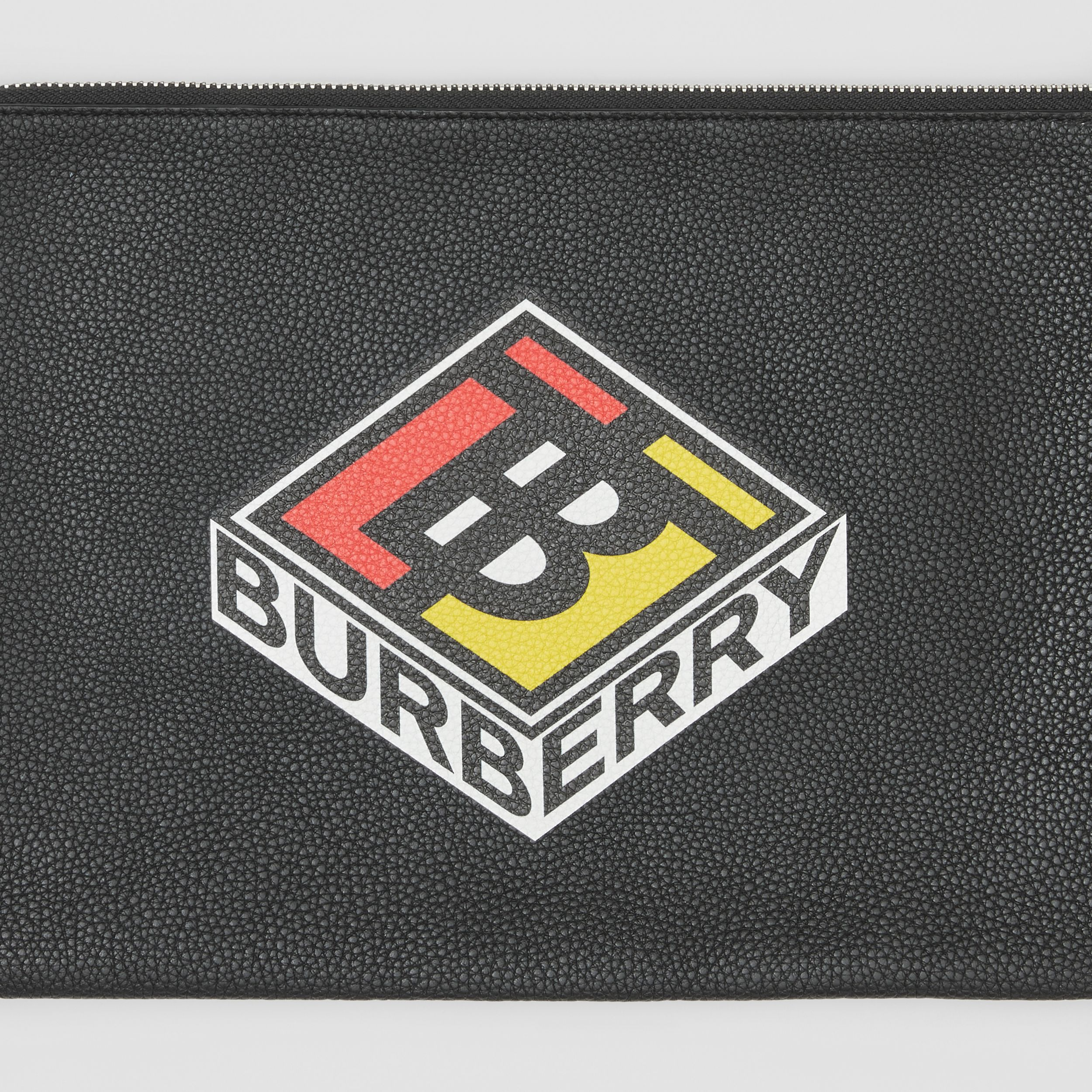 Logo Graphic Grainy Leather Zip Pouch in Black - Men | Burberry - 2
