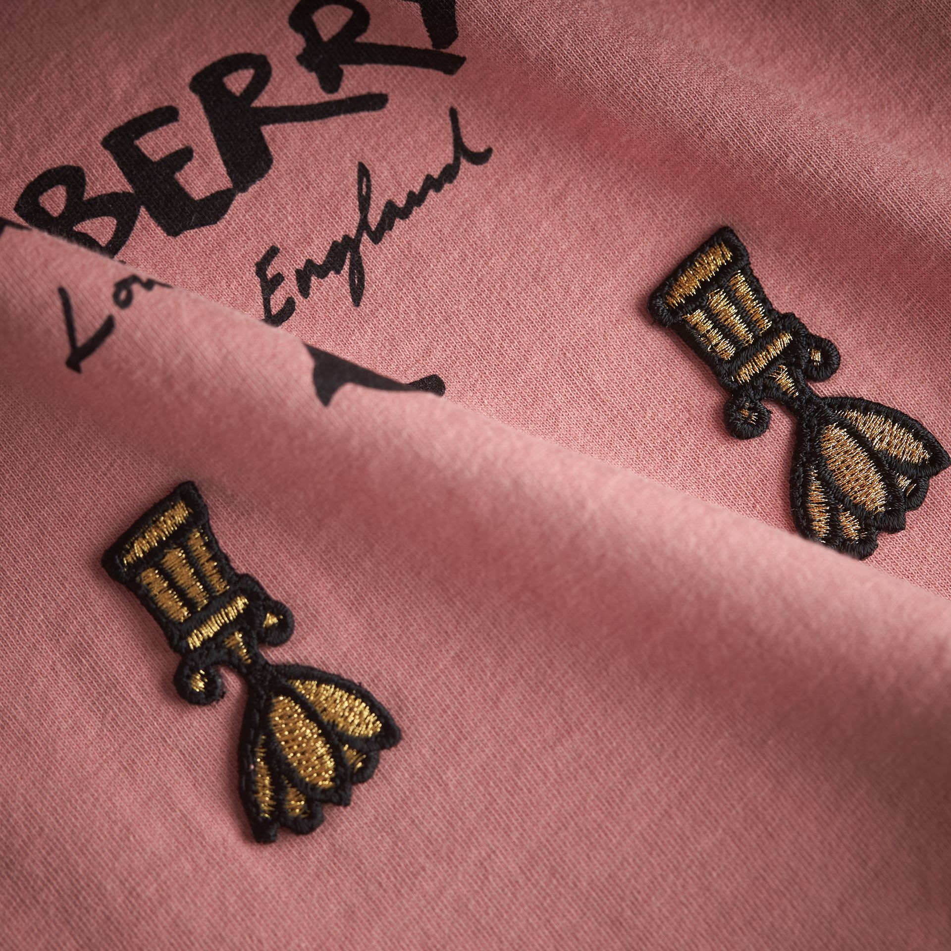Lady Print Cotton T-shirt in Apricot Pink - Girl | Burberry Australia - gallery image 2