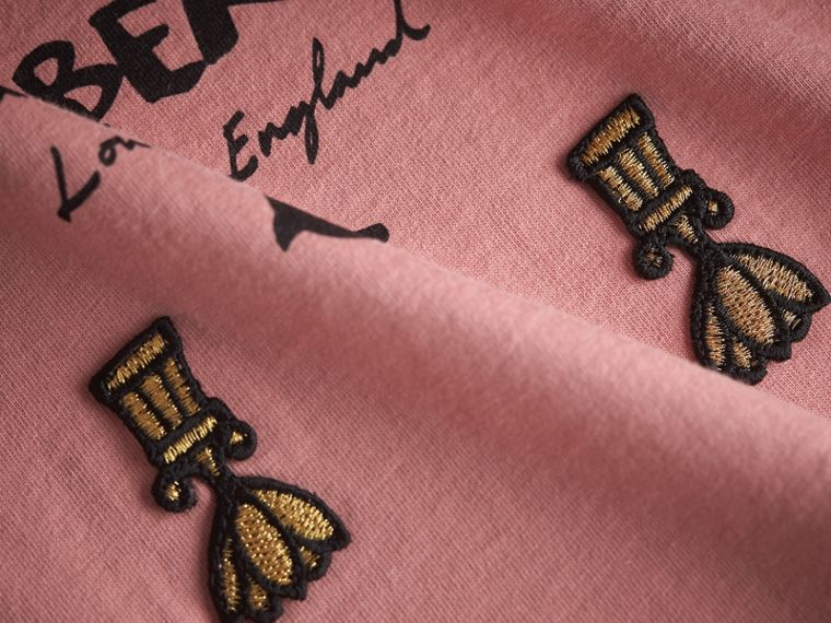 Lady Print Cotton T-shirt in Apricot Pink - Girl | Burberry Australia - cell image 1