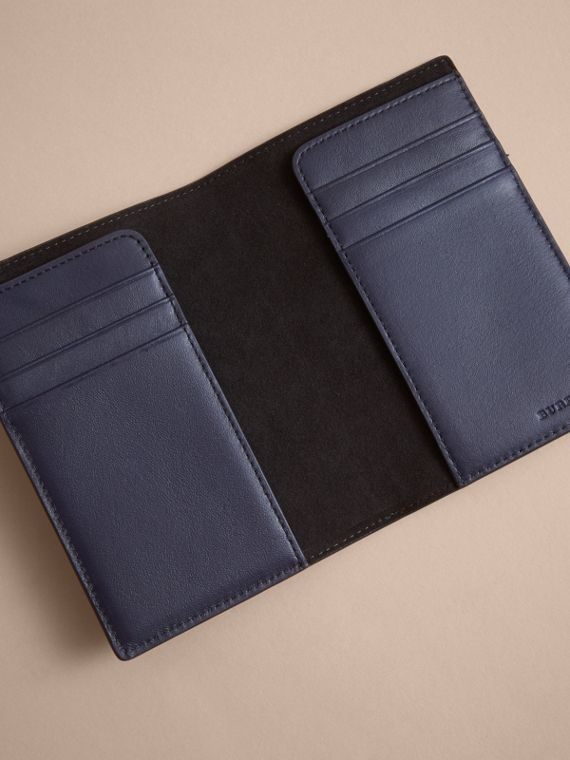 London Check and Leather Passport Holder in Bright Lapis - Men | Burberry - cell image 3