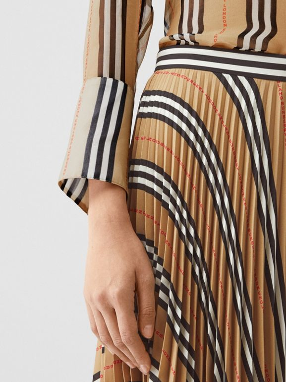 Logo and Stripe Print Crepe Pleated Skirt in Archive Beige - Women | Burberry Canada - cell image 1