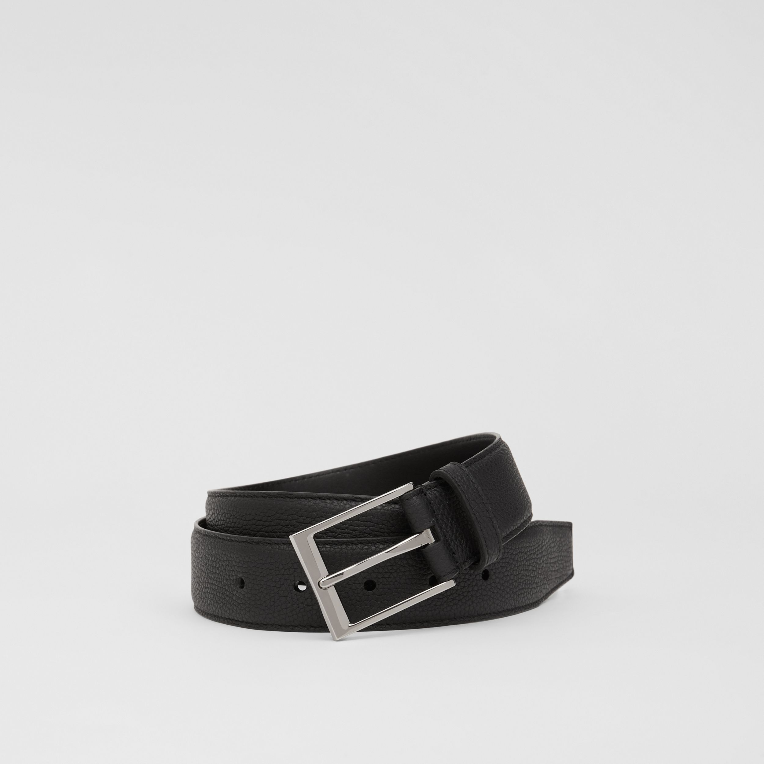 Grainy Leather Belt in Black - Men | Burberry - 1