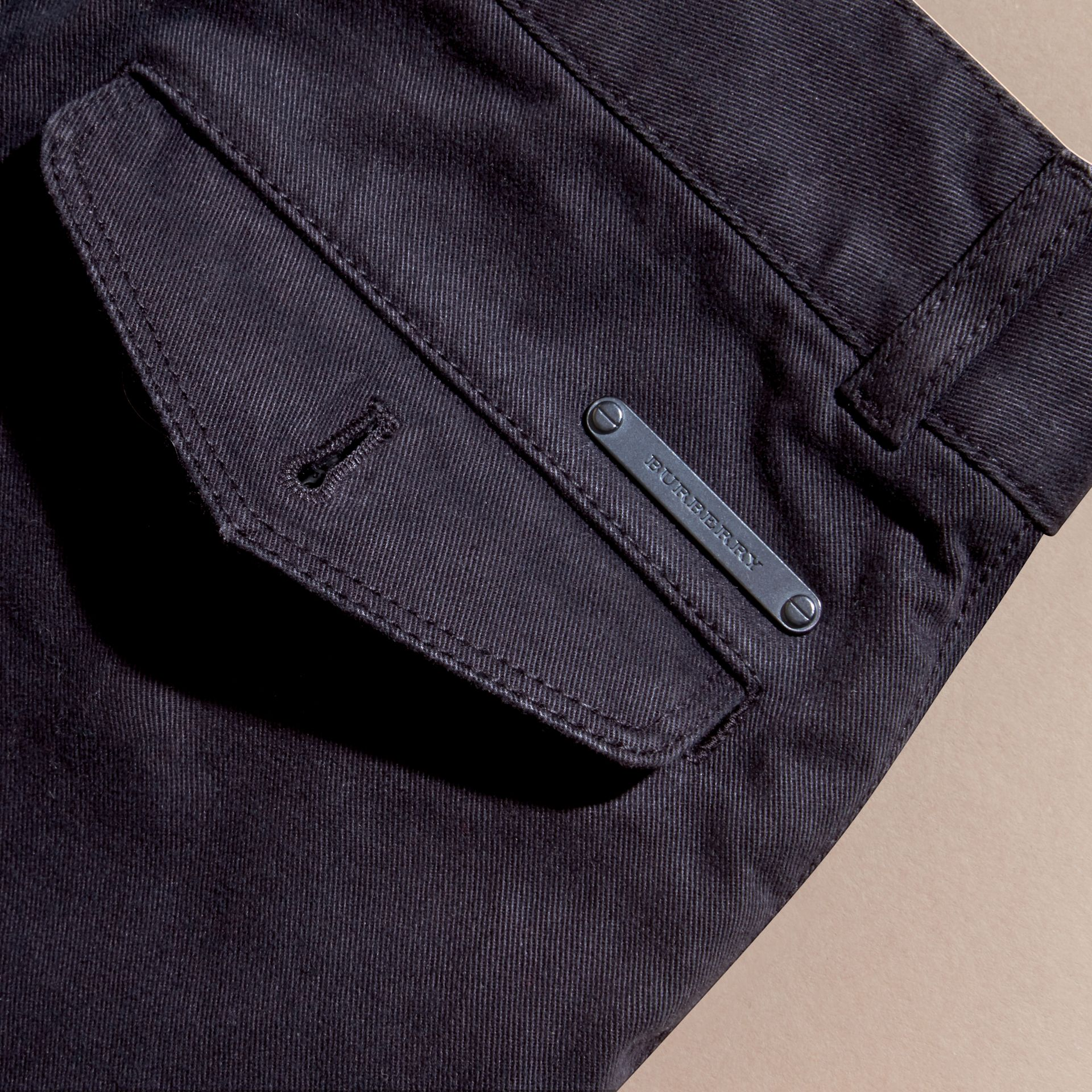 Navy Stretch Cotton Twill Chinos - gallery image 2