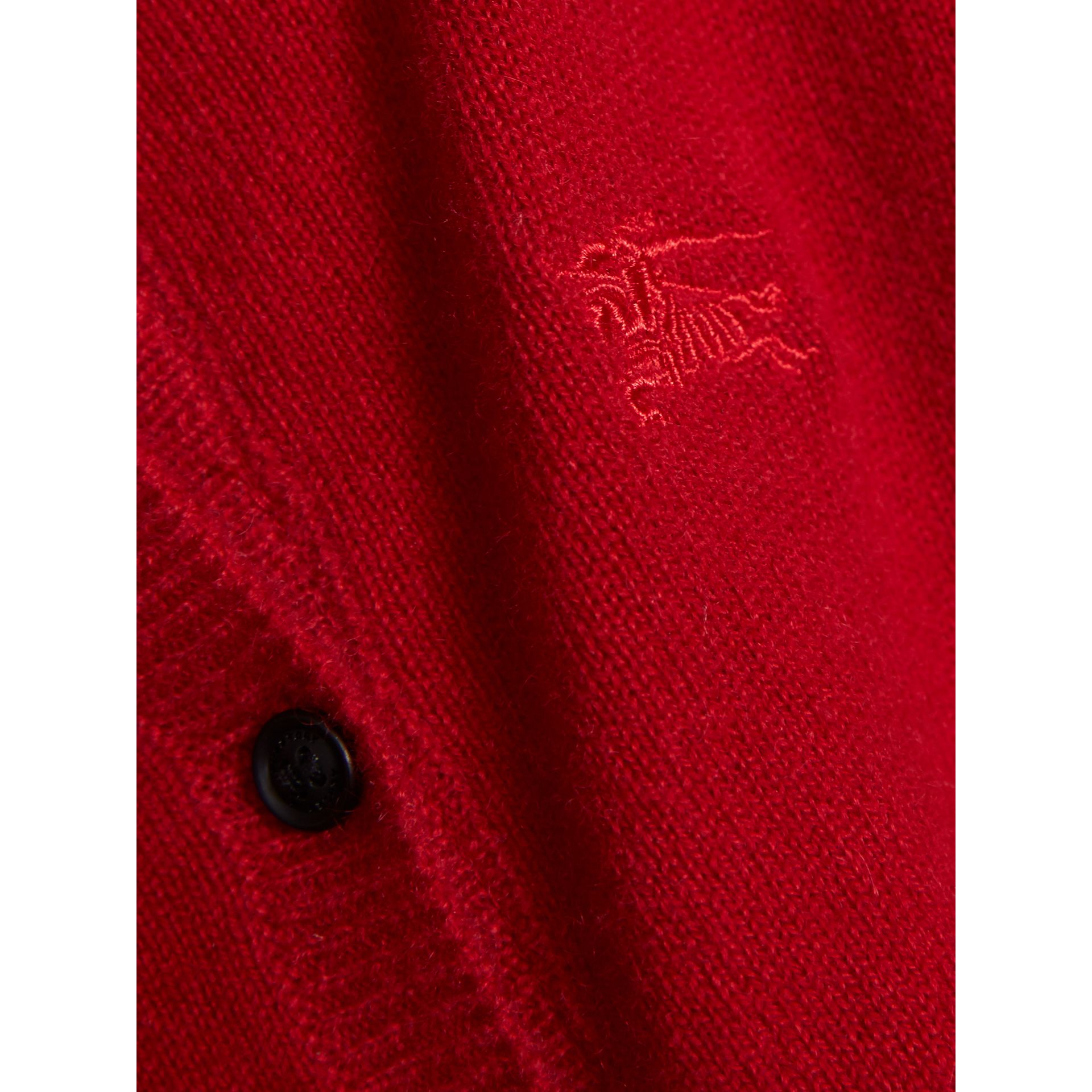 Check Cuff Cashmere Cardigan in Parade Red - Girl | Burberry - gallery image 2