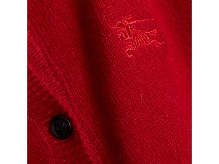 Check Cuff Cashmere Cardigan in Parade Red - Girl | Burberry - cell image 1