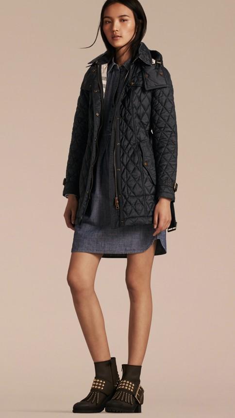 Black Diamond Quilted Coat Black - Image 7