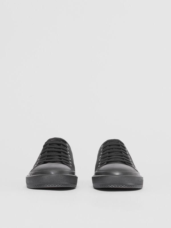 Logo Print Cotton Gabardine Sneakers in Black | Burberry - cell image 2