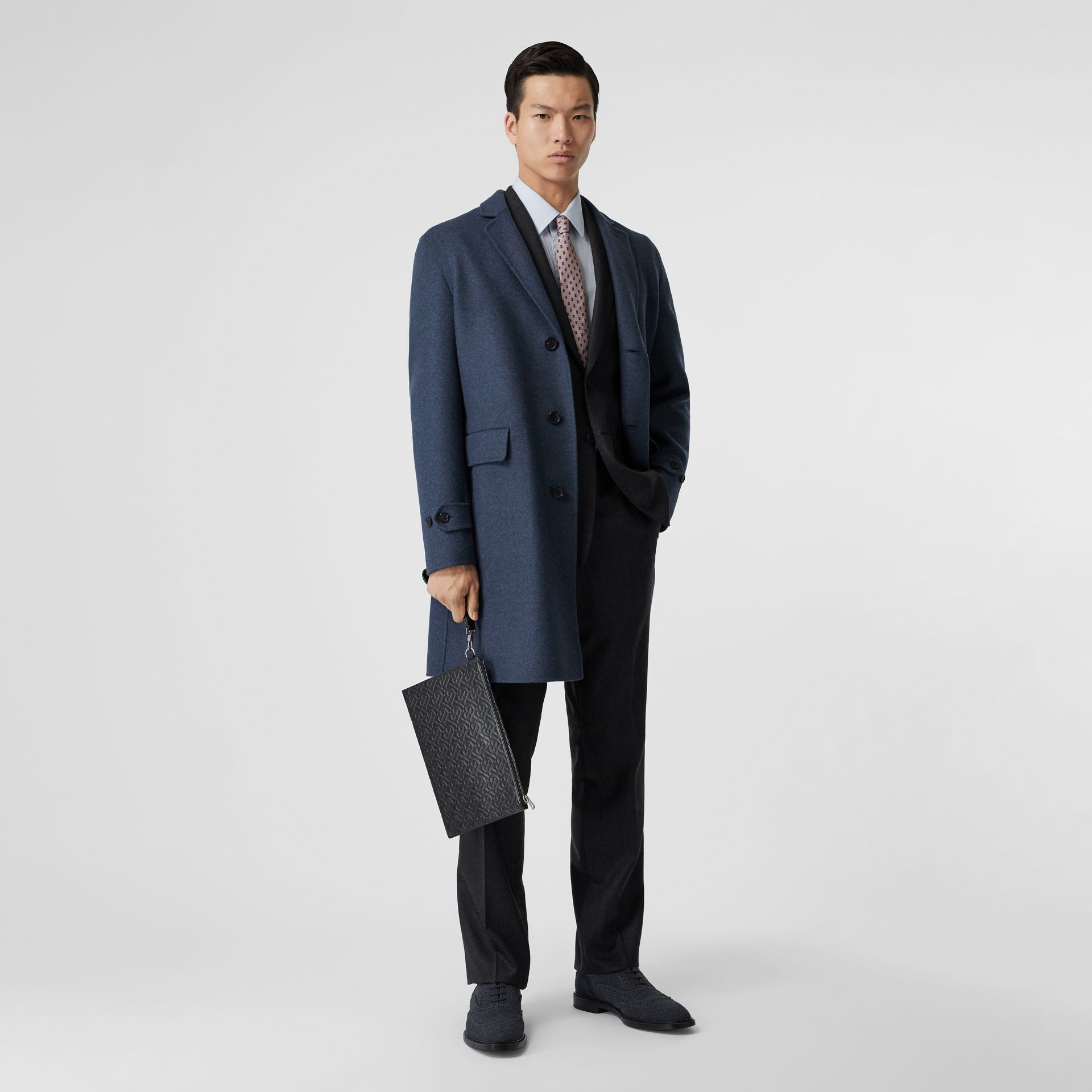 Wool Cashmere Lab Coat in Steel Blue Melange - Men | Burberry - gallery image 0