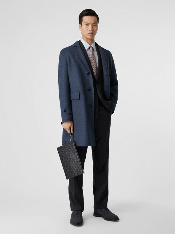 Wool Cashmere Lab Coat in Steel Blue Melange