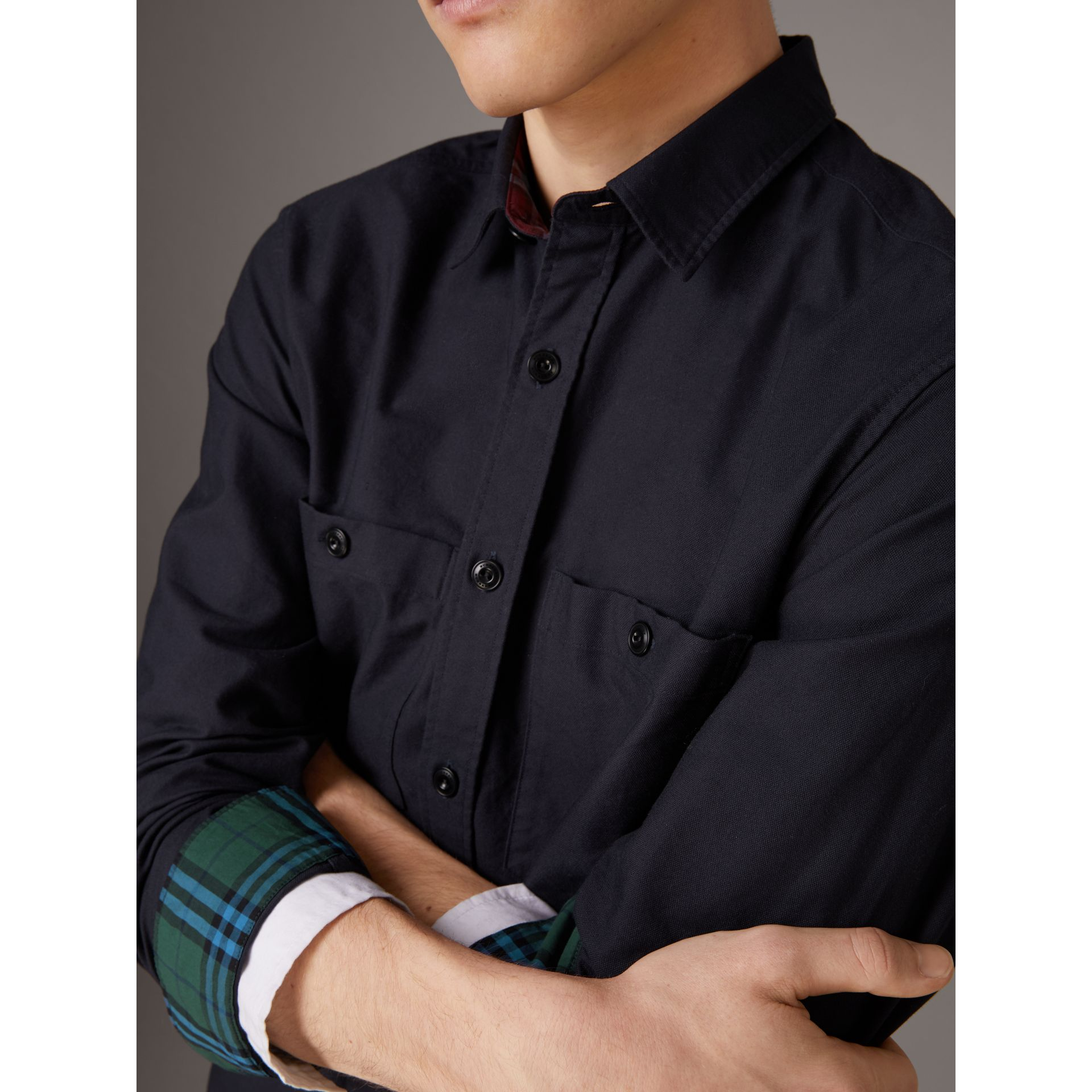 Cotton Oxford Shirt in Navy Blue - Men | Burberry - gallery image 1