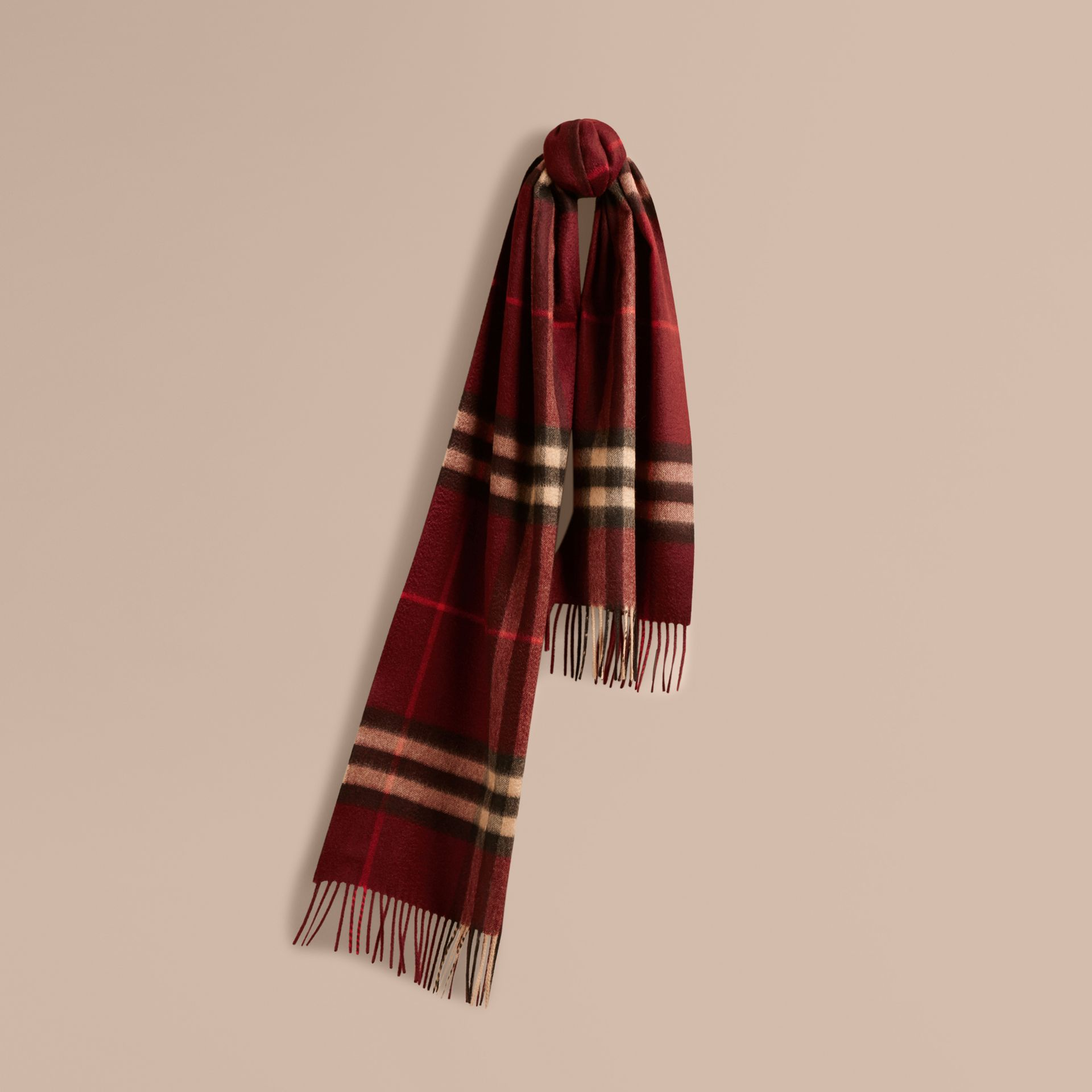 The Classic Cashmere Scarf in Check Claret - gallery image 6