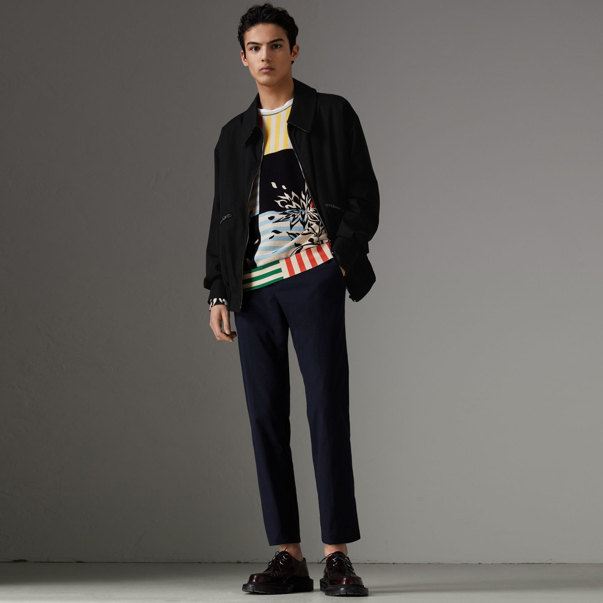 Tropical Gabardine Harrington Jacket in Black - Men | Burberry - gallery image 0