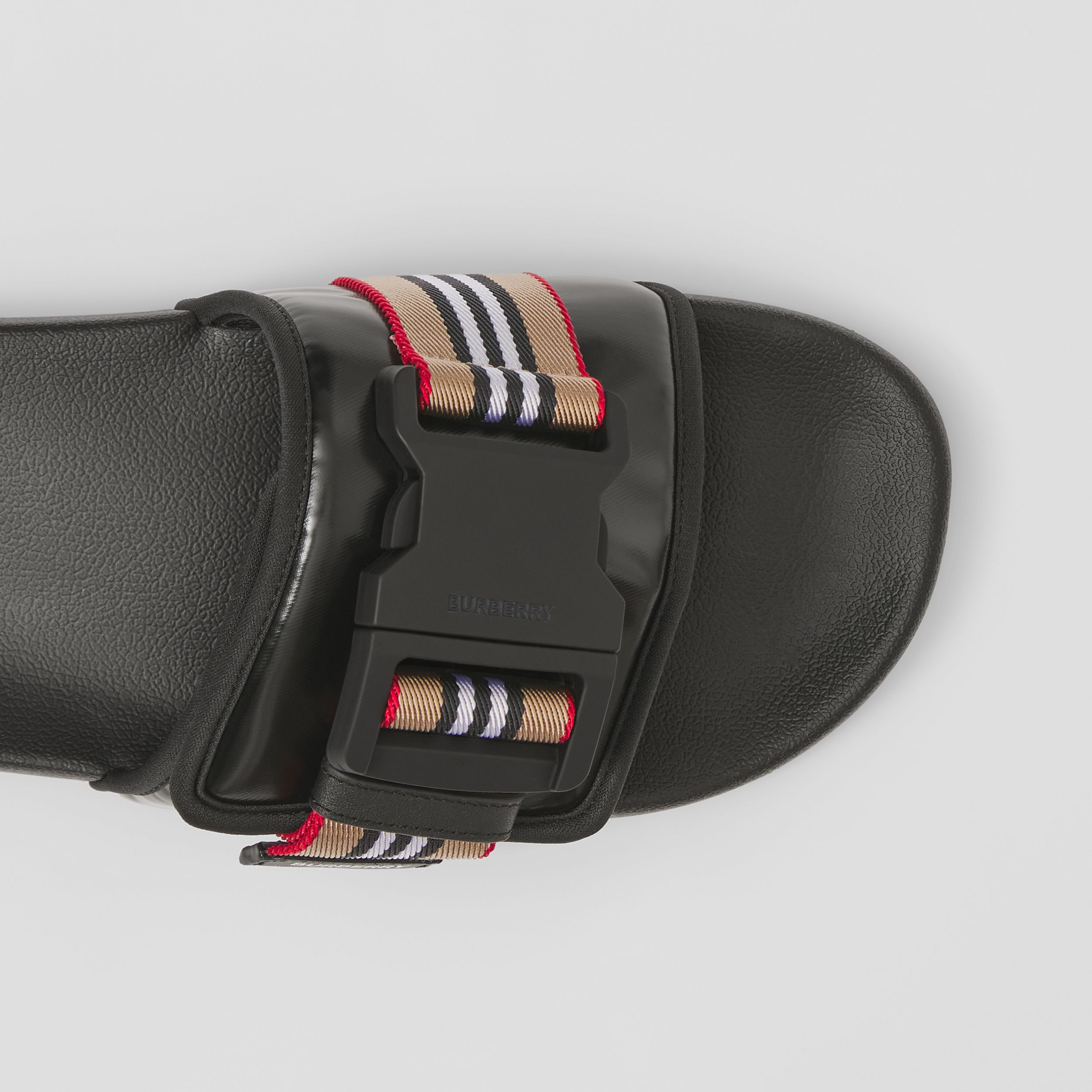 Icon Stripe Trim Coated Canvas Slides in Black - Men | Burberry - 2