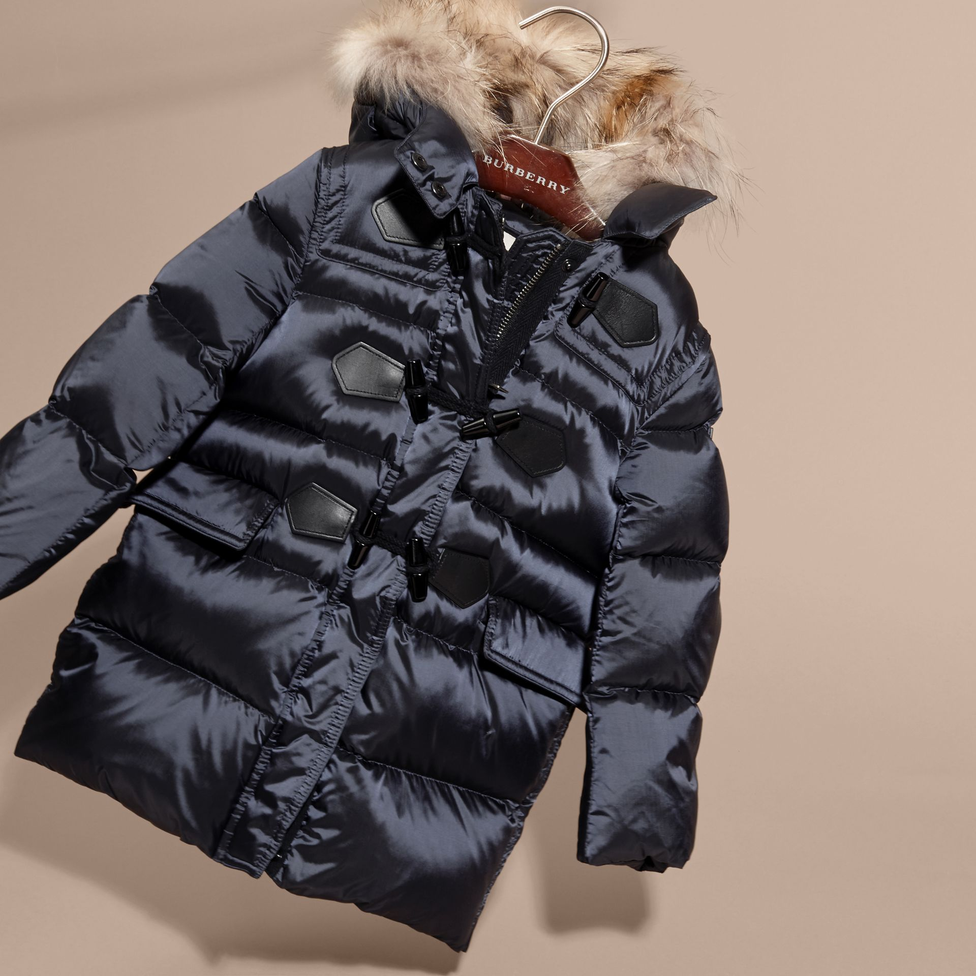 Navy Down-filled Hooded Coat with Detachable Raccoon Fur Trim - gallery image 3