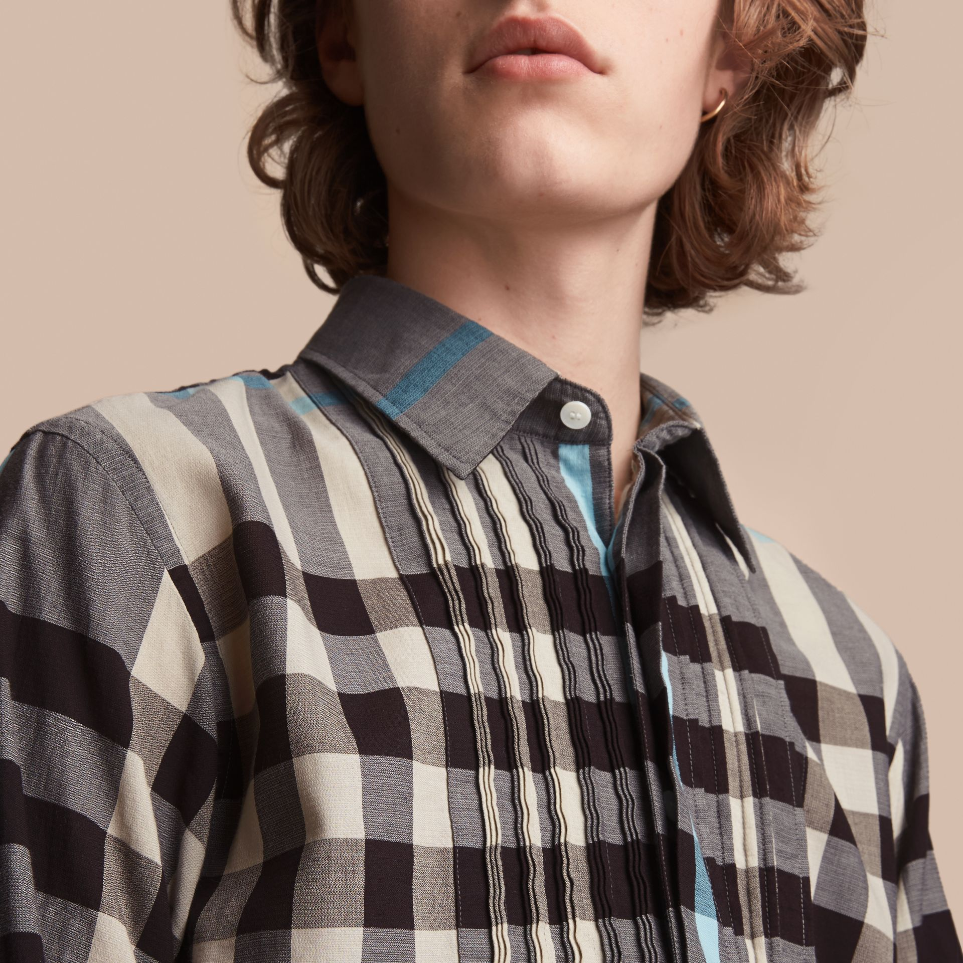 Double-cuff Pintuck Bib Check Cotton Shirt - Men | Burberry - gallery image 5