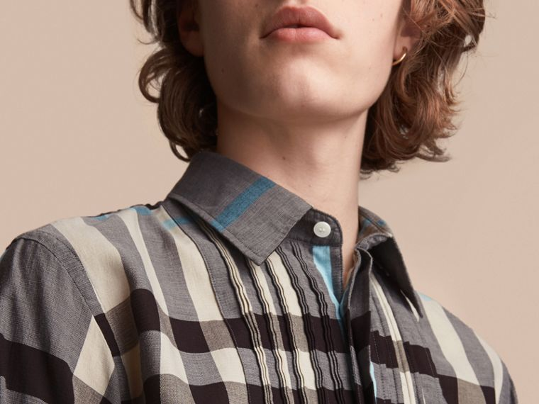 Double-cuff Pintuck Bib Check Cotton Shirt - Men | Burberry - cell image 4